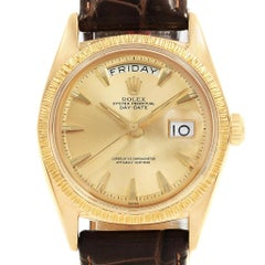 Rolex President Day-Date 18 Karat Yellow Gold Brown Strap Men's Watch 1807