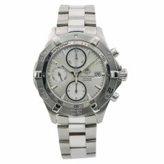 Tag Heuer Aquaracer CAF2111 Men's Automatic Watch Silver Dial Chronograph SS