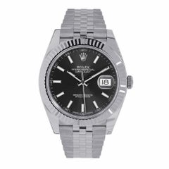Rolex Datejust 41mm Stainless Steel & White Gold Grey Green Roman Dial 126334