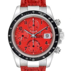 Tudor Tiger Woods Prince Date Red Dial Leather Strap Mens Watch 79260