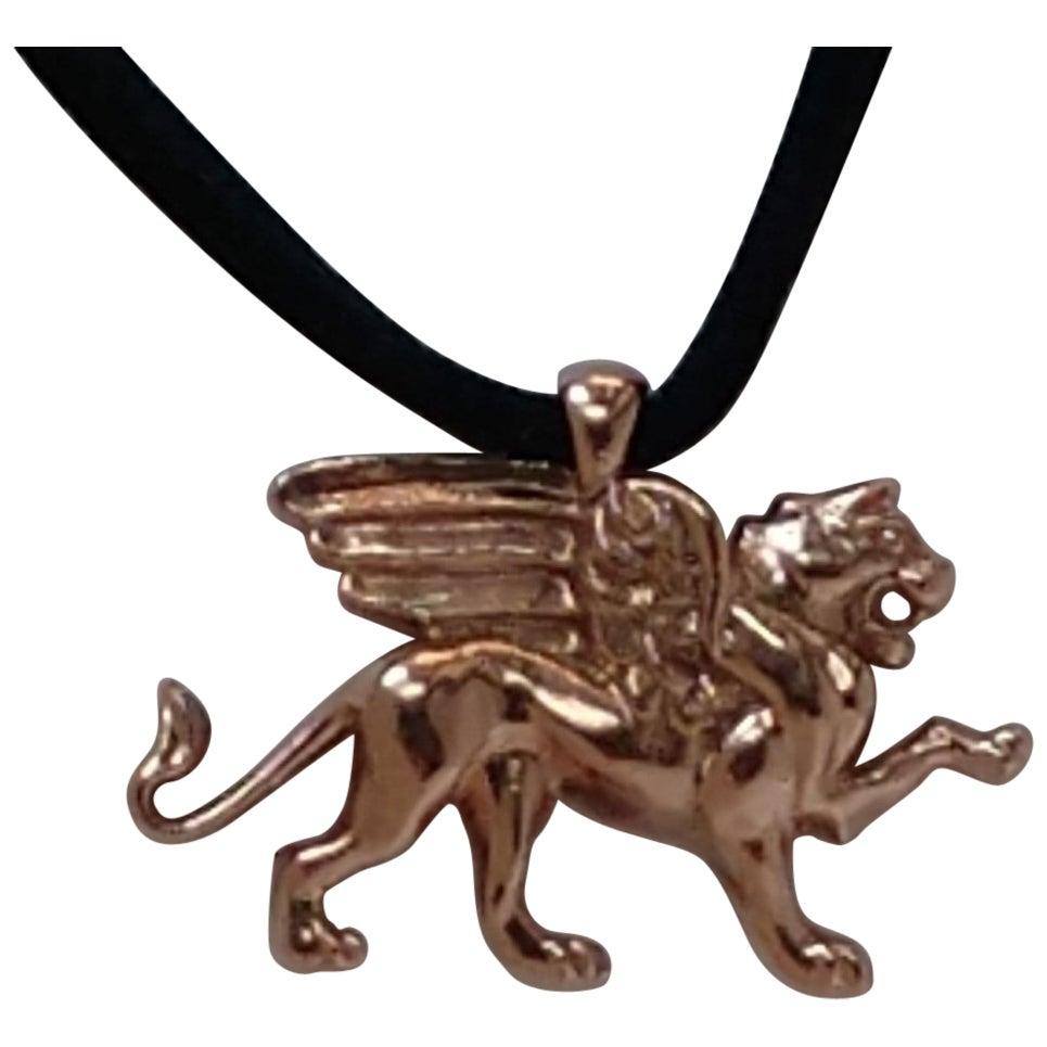14 Karat Pink Gold Griffin Pendant Necklace for Women