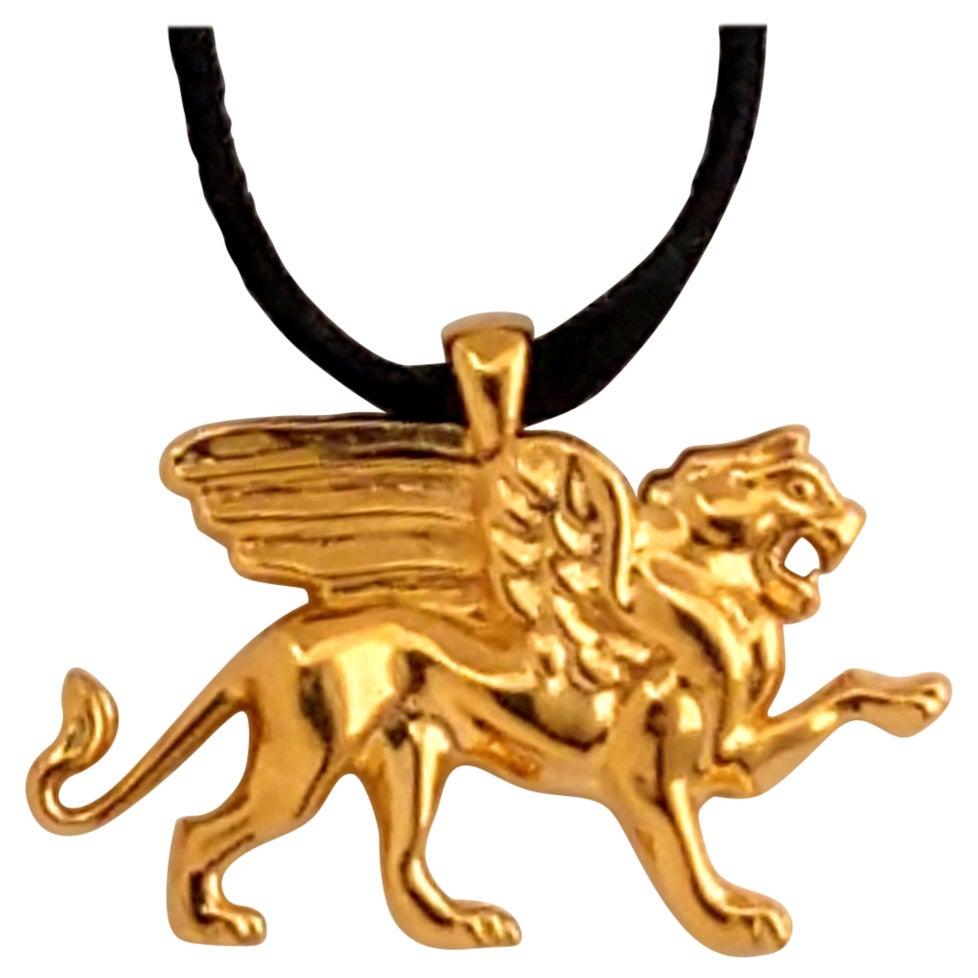 18 Karat Gold Vermeil Griffin Pendant Necklace 1 inch wide