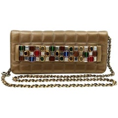 Chanel Paris Byzance Bronze Leather Jeweled Evening Bag