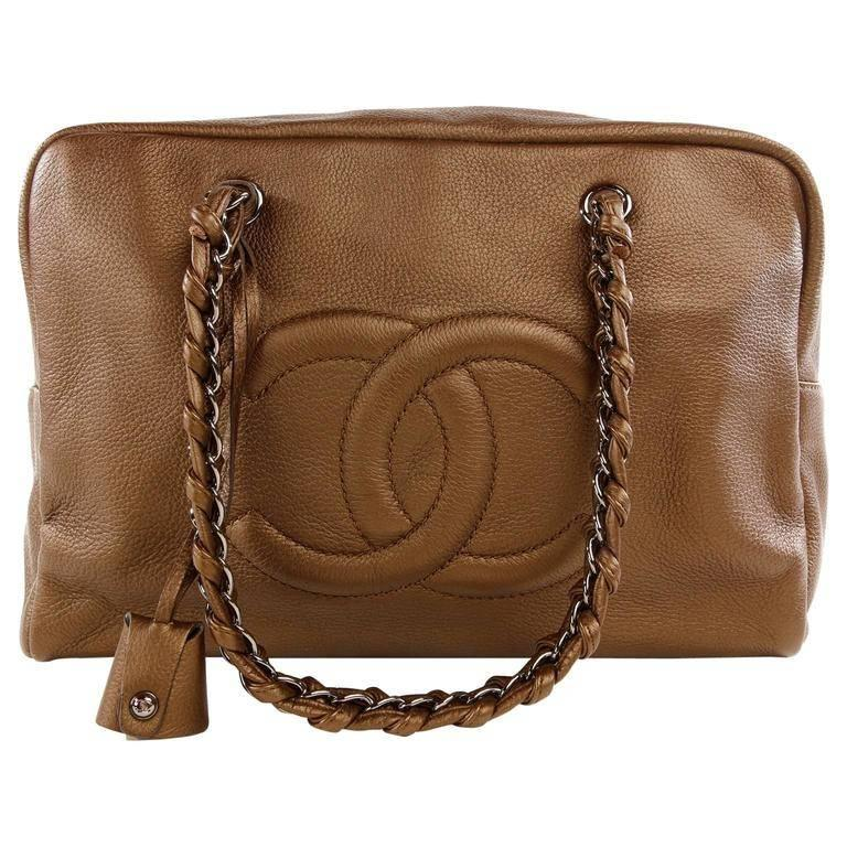 Chanel Bronze Leather Large Bowler Tote Bag