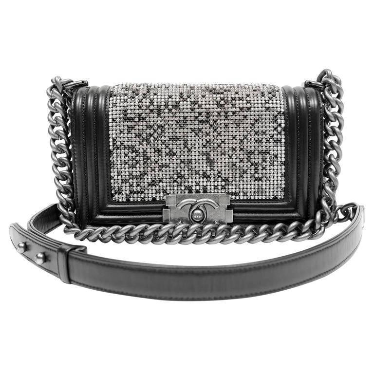 8bc2fe56bd82 Chanel Swarovski Crystal Boy Bag- Black Leather with Ruthenium HW For Sale
