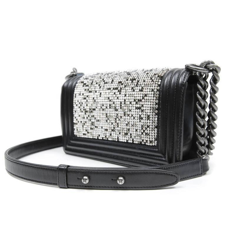 df1176b7cf44 Chanel Black Swarovski Crystal Boy Bag- PRISTINE; Never Before Carried The  updated style is