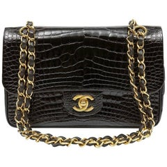 Chanel Black Crocodile Double Flap Classic with Gold