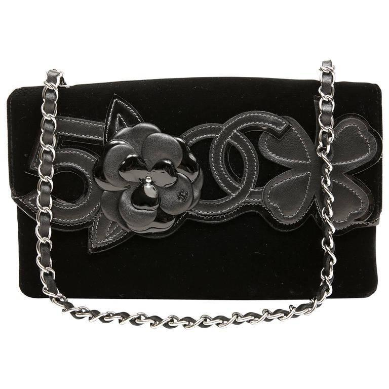23d87016ae1f56 Chanel Black Velvet and Leather Precious Symbols Bag For Sale at 1stdibs