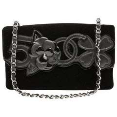 Chanel Black Velvet and Leather Precious Symbols Bag