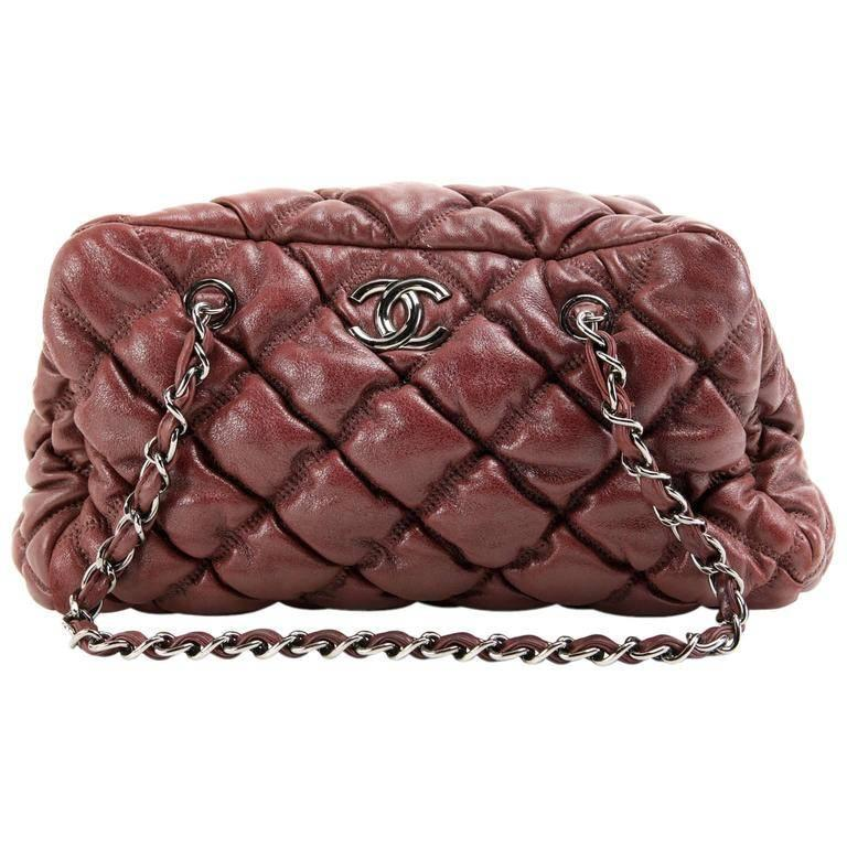 Chanel Dark Red Leather Bubble Quilt Bag For Sale