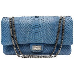 Chanel Blue Grey Python Maxi Shoulder Bag