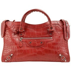 Balenciaga Red Matte Crocodile City Bag