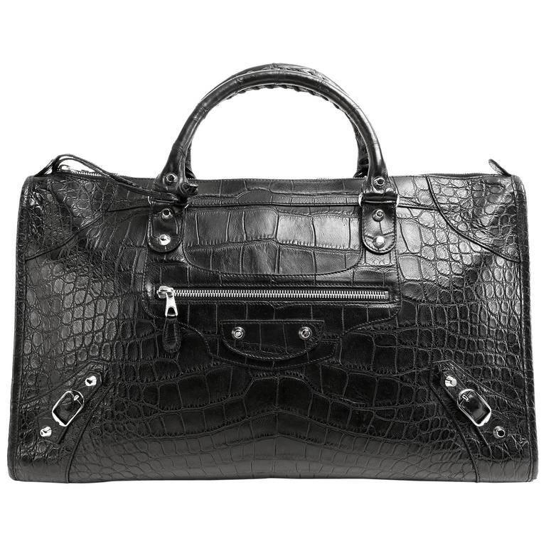 Balenciaga Black Crocodile Weekender Bag For