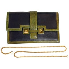 Hermes Black and Green Leather Clutch with chain strap