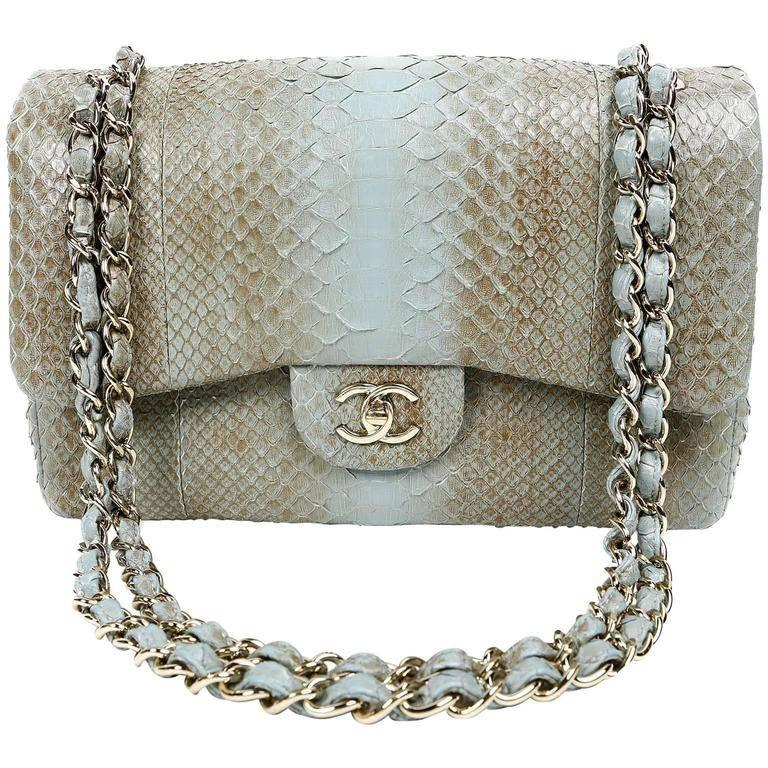 09c9e335eca3 Chanel Degrade Python Jumbo Classic- Brown and Blue at 1stdibs
