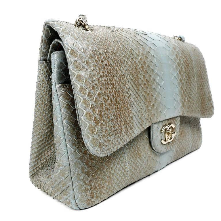 071d267cfea5 Chanel Degrade Python Jumbo Classic- Brown and Blue In Excellent Condition  For Sale In Palm
