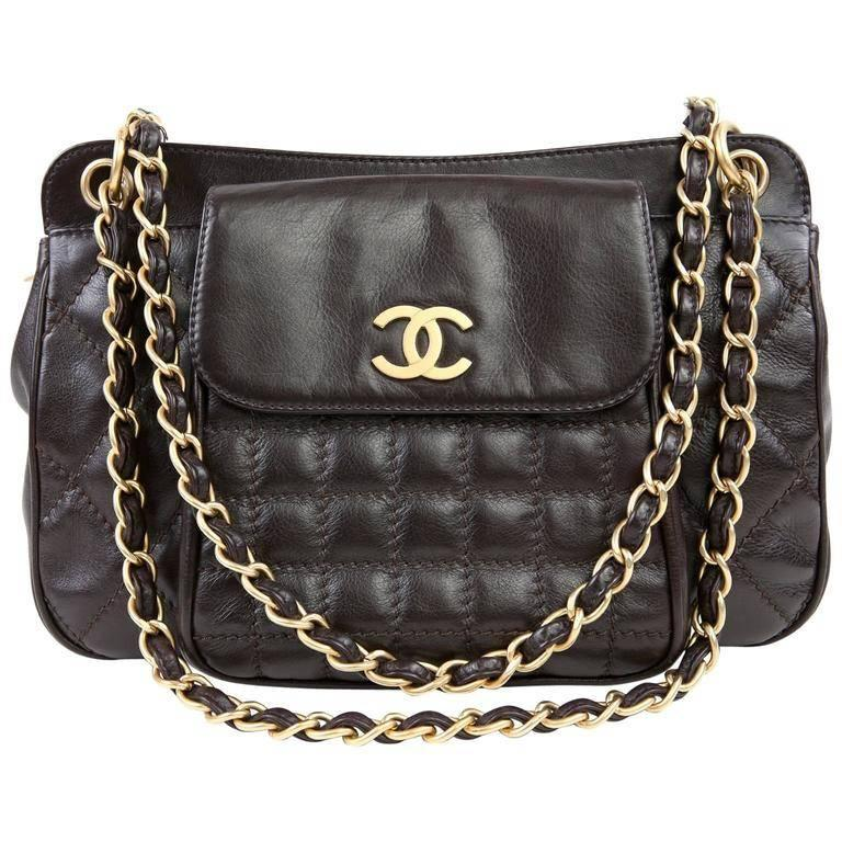 Chanel Dark Brown Leather Quilted Pocket Tote Bag