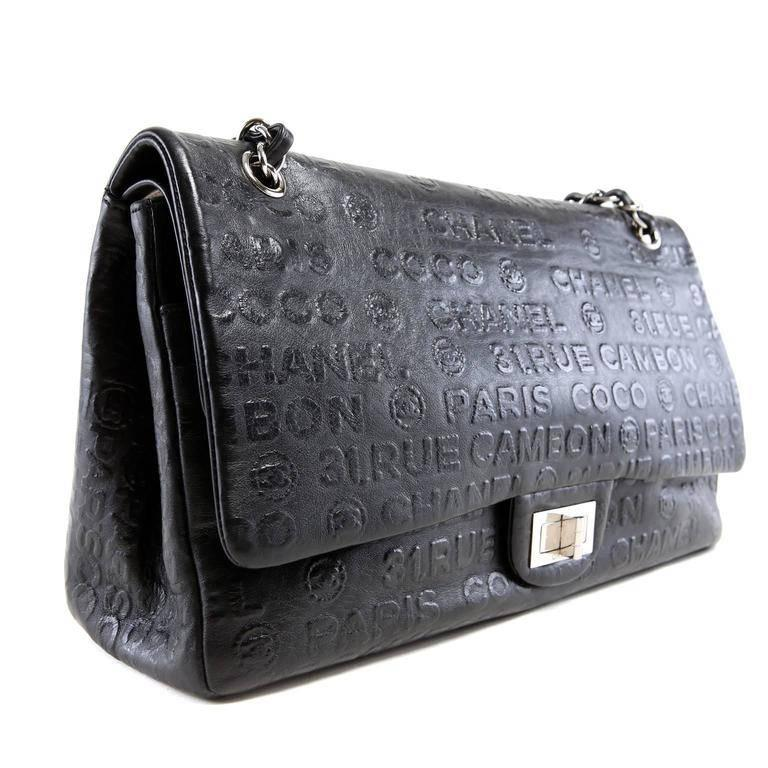 Chanel Black Leather Rue Cambon Double Flap Shoulder bag In Excellent Condition In Palm Beach, FL