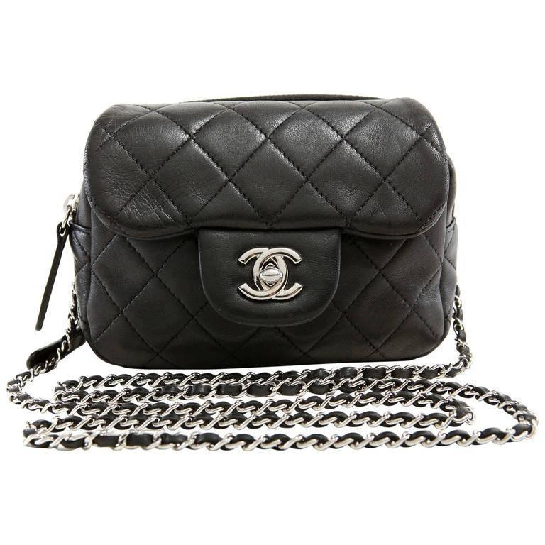 2c38889d70d5e6 Chanel Black Lambskin Mini Flap Wallet on a Chain Bag at 1stdibs