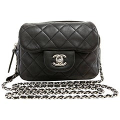 Chanel Black Lambskin Mini Flap Wallet on a Chain Bag