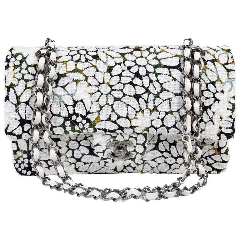 Chanel White Floral Tweed Double Flap Classic For Sale