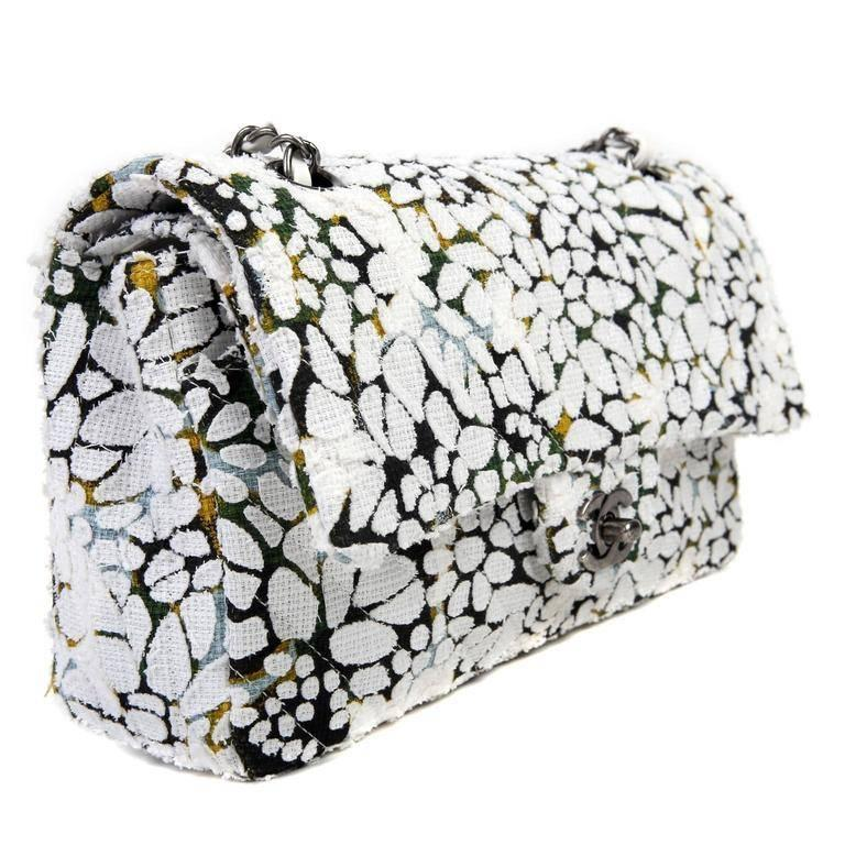 Gray Chanel White Floral Tweed Double Flap Classic For Sale