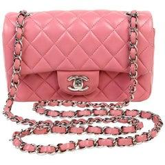 Chanel Pink Lambskin Mini Classic Flap SHW