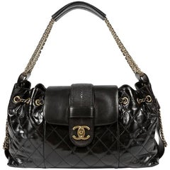 Chanel Black Calfskin and Stingray Accordion Bag