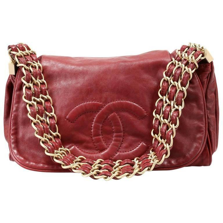 Chanel Red Lambskin Triple Chain Strap Bag