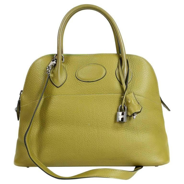 Hermes Vert Anis Clemence 27 cm Bolide Bag For Sale