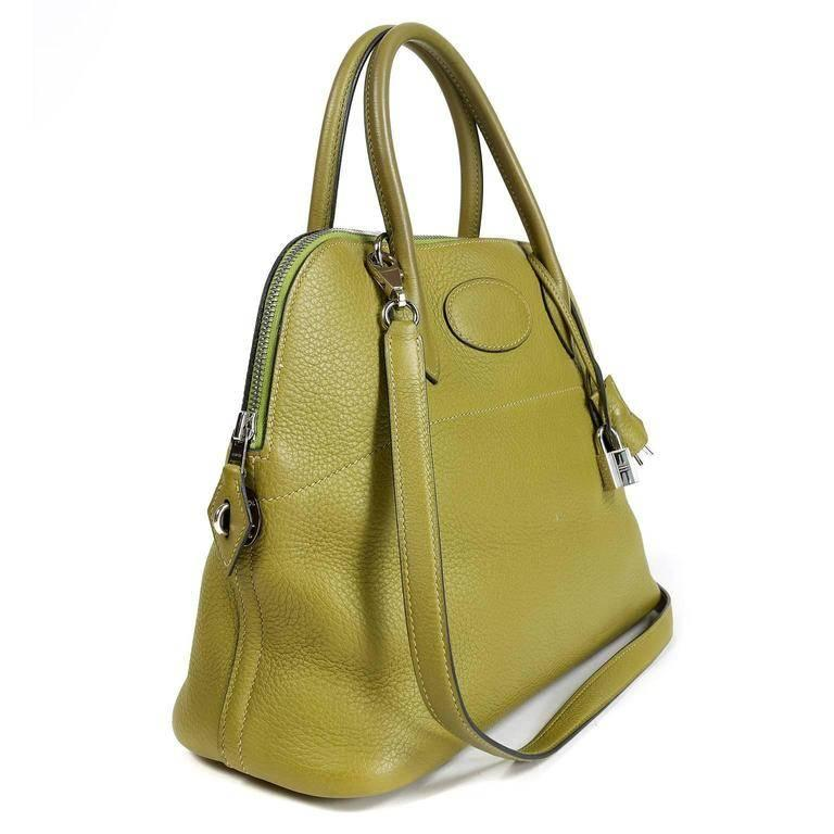 Brown Hermes Vert Anis Clemence 27 cm Bolide Bag For Sale