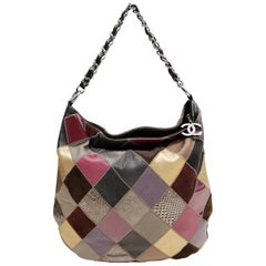 Chanel Multicolor Python Suede Leather Patchwork Hobo