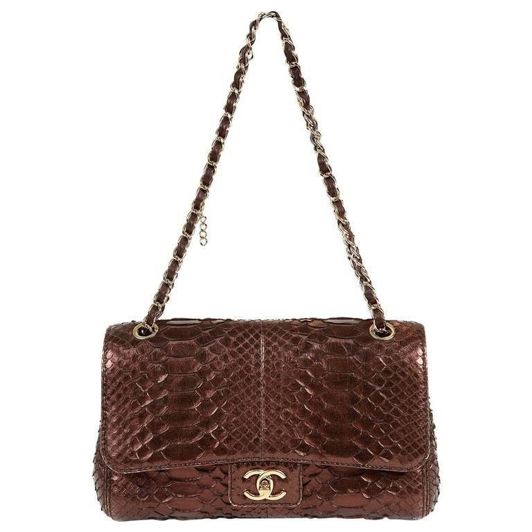 373224dfb9878f Chanel Metallic Plum Python Classic Flap Bag For Sale at 1stdibs