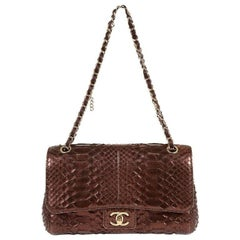 Chanel Metallic Plum Python Classic Flap Bag