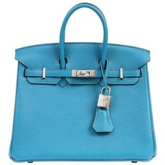 Hermes Blue Izmir Togo Leather 25 cm Birkin with PHW