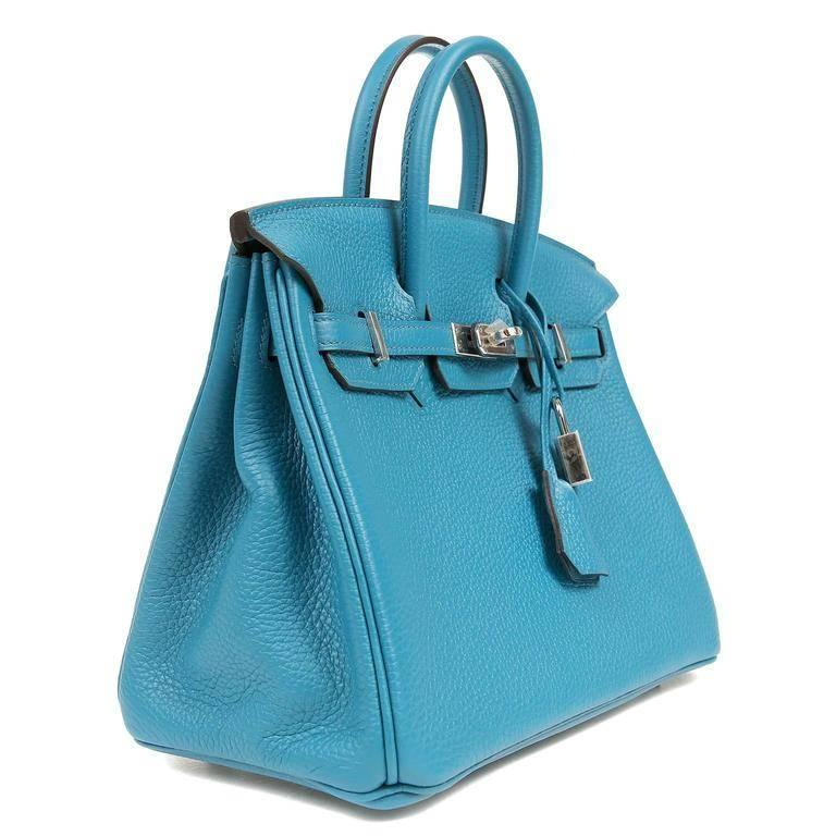 8b11398560ea Hermes Blue Izmir Togo Leather 25 cm Birkin with PHW In Excellent Condition  For Sale In