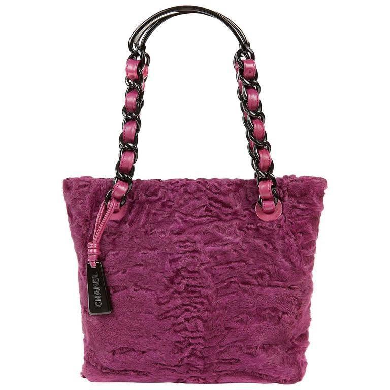 Chanel Purple Fur Small Tote Bag