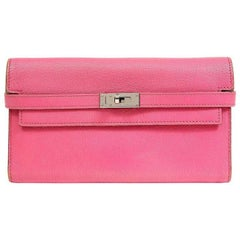 Hermes Fuchsia Chevre Kelly Wallet