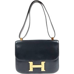 Hermes Navy Indigo Box Calf Constance 23 Bag