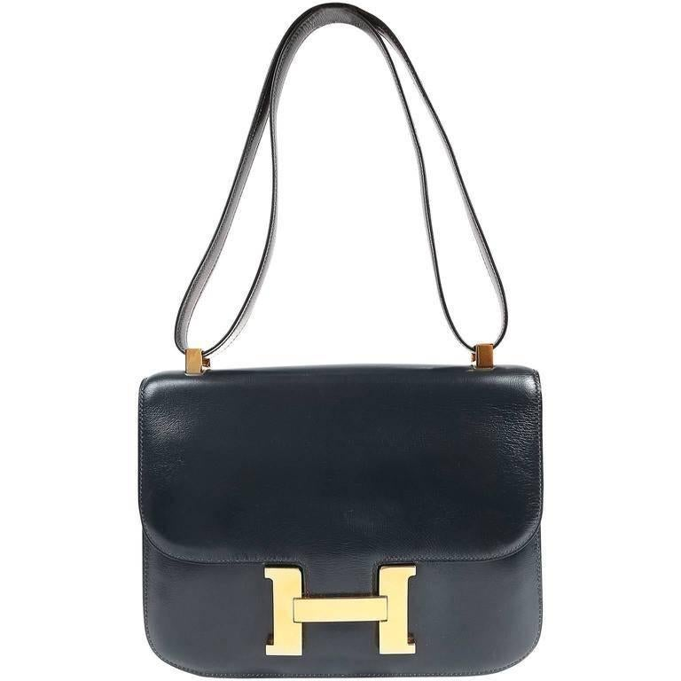 Hermes Navy Indigo Box Calf Constance 23 Bag For Sale