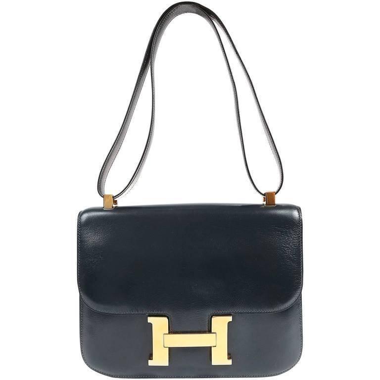 Hermes Navy Indigo Box Calf Constance 23 Bag