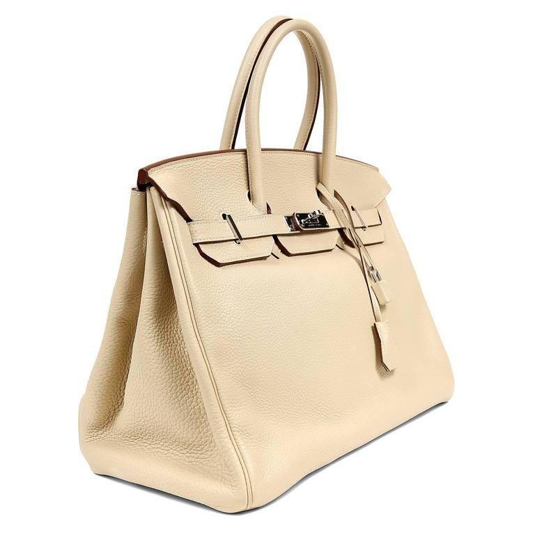 Beige Hermes Parchemin Togo 35 cm Birkin Bag For Sale