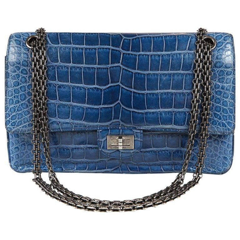 4e465aded944 Chanel Blue Sapphire Crocodile 2.55 Flap Bag at 1stdibs