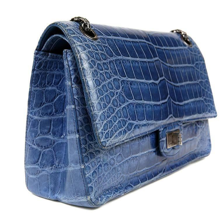 Chanel Blue Sapphire Crocodile 2.55 Flap Bag In Excellent Condition For Sale In Palm Beach, FL