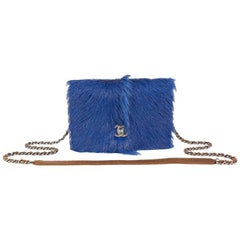 Chanel Blue Goat Fur and Distressed Brown Leather Wallet on a Chain WOC