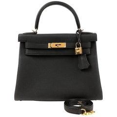 Hermes Black Togo 28 cm Kelly Bag GHW