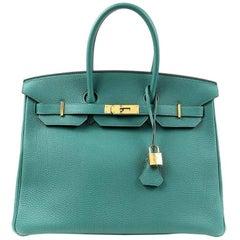 Hermes Malachite Green Togo 35 cm Birkin Bag with Gold HW