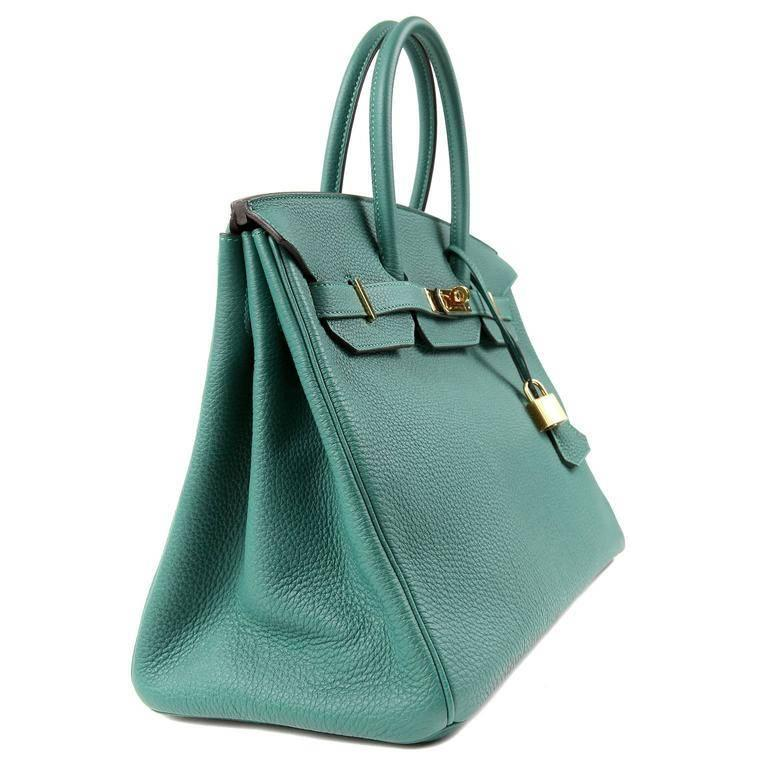 211dab8af5fa Hermes Malachite Green Togo 35 cm Birkin Bag with Gold HW In Excellent  Condition For Sale