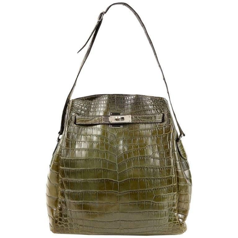 Hermes Vert Olive Niloticus Crocodile 26 cm Kelly Sport Shoulder Bag