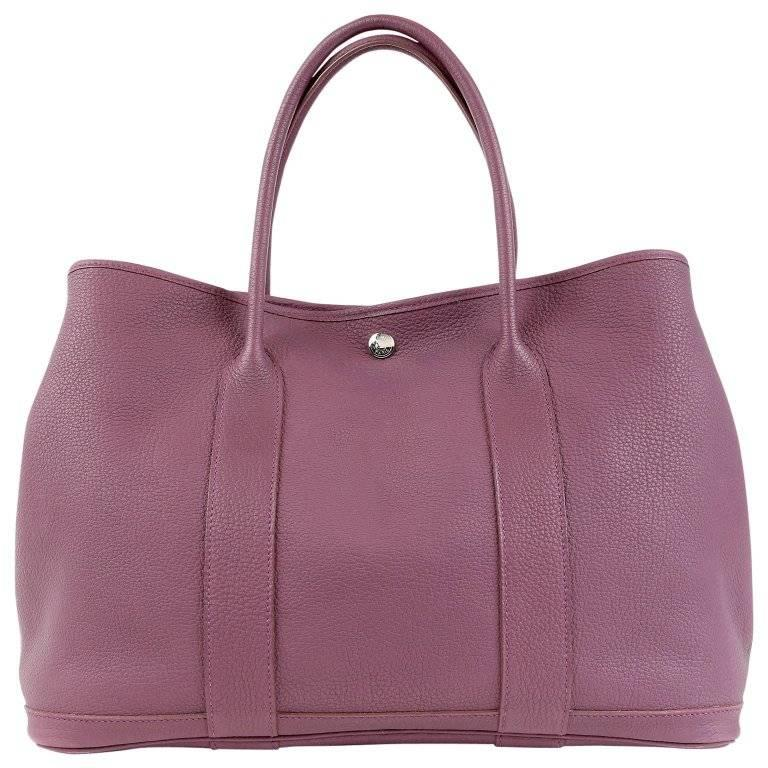 Hermes Violet All Leather Garden Party Tote- Togo, PHW